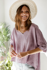 Lavender - Model wearing a linen Relaxed Fit Top