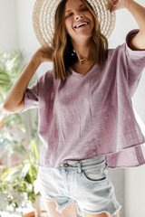 Lavender - Dress Up model wearing a linen Relaxed Fit Top