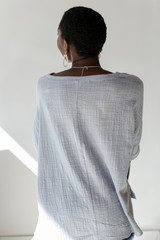 Relaxed Fit Top in Light Blue Back View