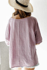 Relaxed Fit Top in Lavender Back View