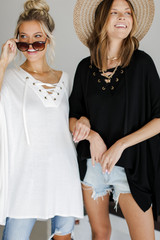 Models wearing a Lace-Up Tunic