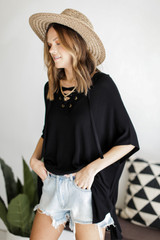 Lace-Up Tunic in Black Side View