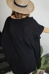 Lace-Up Tunic in Black Back View