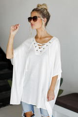 Model wearing a Lace-Up Tunic in Ivory
