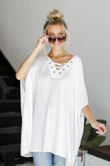 Dress Up model wearing a Lace-Up Tunic in Ivory