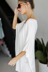 Lace-Up Tunic in Ivory Side View