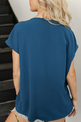 Tie-Front Blouse in Teal Back View