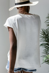 Tie-Front Blouse in White Back View