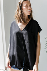 Tie-Front Blouse in Black Front View