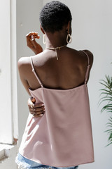 Lace Crochet Tank in Mauve Back View