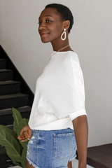 Short Sleeve Dolman Top in White Side View