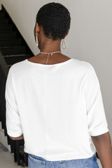 Short Sleeve Dolman Top in White Back View