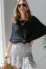 Short Sleeve Dolman Top in Black Front View