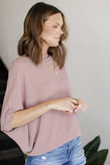 Short Sleeve Dolman Top in Mauve Side View