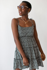 Black - Spotted Tiered Dress
