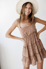Taupe - Model wearing a Spotted Tiered Dress