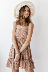 Taupe - Dress Up model wearing a Spotted Tiered Dress