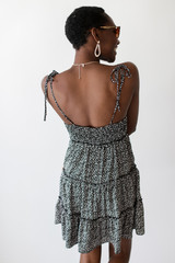 Spotted Tiered Dress in Black Back View