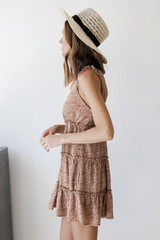 Spotted Tiered Dress in Taupe Side View