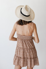 Spotted Tiered Dress in Taupe Back View