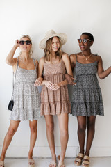 Models wearing Spotted Tiered Dresses