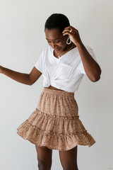 Taupe - Dress Up model wearing a Spotted Tiered Skirt