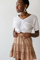 Taupe - Model wearing a Spotted Tiered Skirt