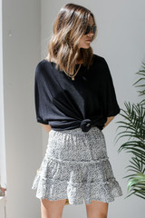 White - Dress Up model wearing a Spotted Tiered Skirt with a black top