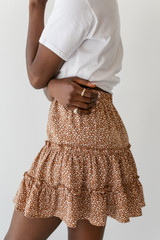 Spotted Tiered Skirt in Taupe Side View