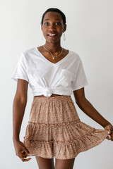 Spotted Tiered Skirt in Taupe Front View