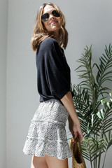 Spotted Tiered Skirt in White Side View