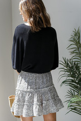 Spotted Tiered Skirt in White Back View