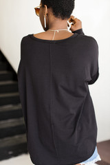 Long Sleeve Pocket Tee in Black Back View