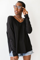 Long Sleeve Pocket Tee in Black Front View