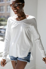 Long Sleeve Pocket Tee in White Front View