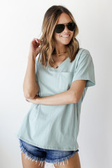 Mint - Dress Up model wearing an Everyday Pocket Tee with denim shorts