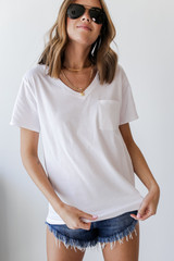 White - Everyday Pocket Tee Front View