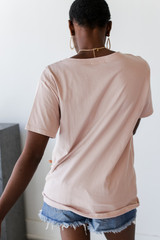 Everyday Pocket Tee in Blush Back View
