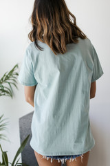 Everyday Pocket Tee in Mint Back View