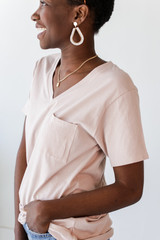 Everyday Pocket Tee in Blush Side View