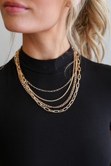 Model wearing a Gold Layered Chain Necklace