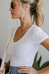 V-Neck Crop Top in White Side View