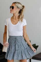 Sage - Spotted Tiered Skirt from Dress Up