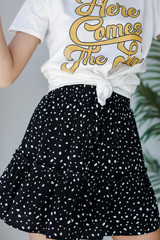 Black - Dress Up model wearing a Spotted Tiered Skirt