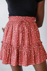 Marsala - Close Up of a Spotted Tiered Skirt