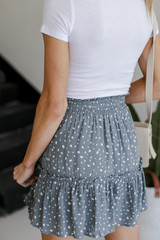 Spotted Tiered Skirt in Sage Back View