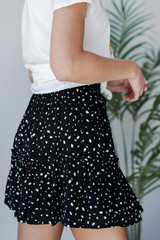 Spotted Tiered Skirt in Black Side View