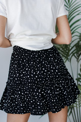 Spotted Tiered Skirt in Black Back View