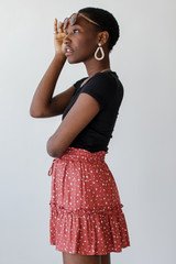 Spotted Tiered Skirt in Marsala Side View