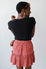 Spotted Tiered Skirt in Marsala Back View